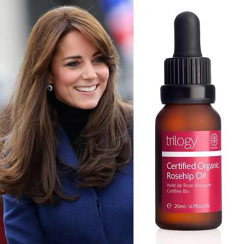 """<p>Kate apparently <a href=""""http://www.townandcountrymag.com/style/beauty-products/news/a3787/kate-middleton-beauty-secrets/"""" target=""""_blank"""" data-tracking-id=""""recirc-text-link"""">swore by this Rosehip oil</a> during her first pregnancy. The product promises to help with scars, stretch marks, fine lines, and wrinkles. Wait...&nbsp;Kate has wrinkles? No way. ($19; <a href=""""https://www.amazon.com/Trilogy-Certified-Organic-Rosehip-Oil/dp/B000N94XPQ"""" target=""""_blank"""" data-tracking-id=""""recirc-text-link"""">amazon.com</a>)</p><p><a href=""""https://www.amazon.com/Trilogy-Certified-Organic-Rosehip-Oil/dp/B000N94XPQ?tag=redbook_auto-append-20"""" target=""""_blank"""" class=""""slide-buy--button"""" data-tracking-id=""""recirc-text-link""""><strong data-redactor-tag=""""strong"""" data-verified=""""redactor"""" data-tracking-id=""""recirc-text-link"""">BUY NOW</strong></a></p><p><strong data-redactor-tag=""""strong"""" data-verified=""""redactor"""">RELATED: </strong><a href=""""http://www.redbookmag.com/beauty/hair/g3067/kate-middleton-hair/"""" target=""""_blank"""" data-tracking-id=""""recirc-text-link""""><strong data-redactor-tag=""""strong"""" data-verified=""""redactor"""">See Kate Middleton's Hair Evolution Over the Last 10 Years</strong></a></p>"""