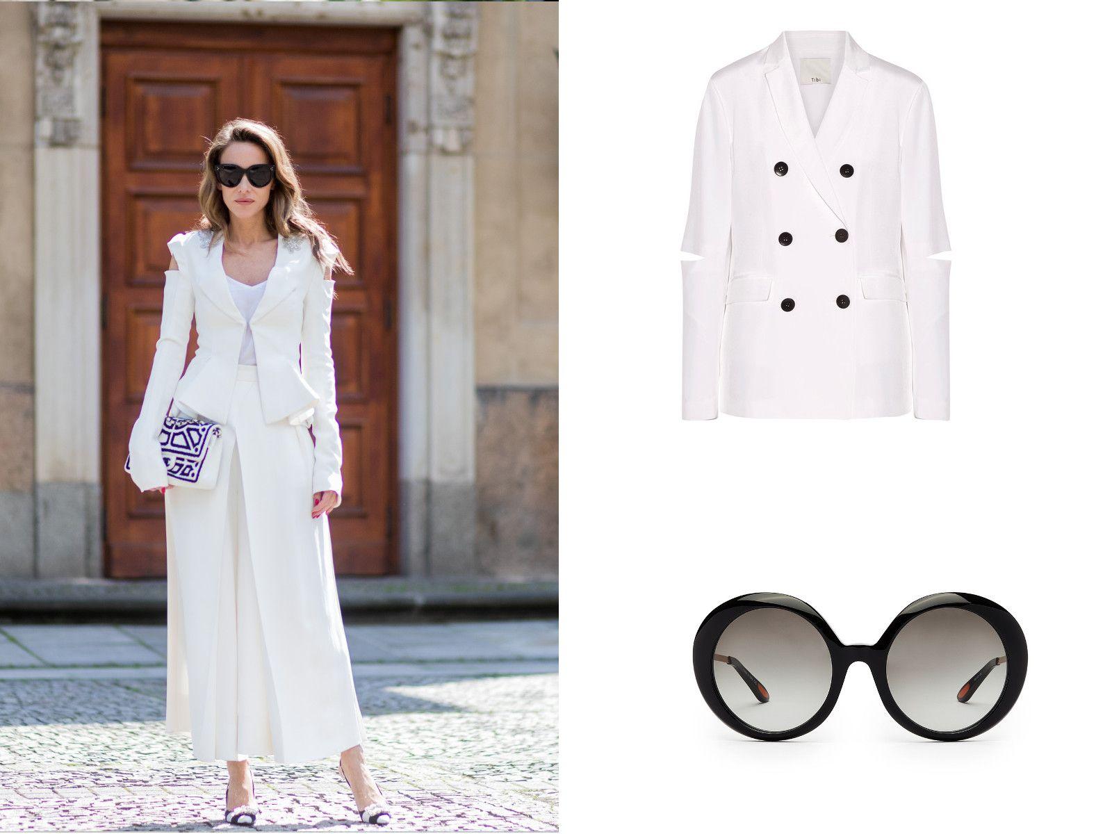 Culotte pantaloni a vita alta nell'outfit elegante da ufficio con giacca e occhiali scuri