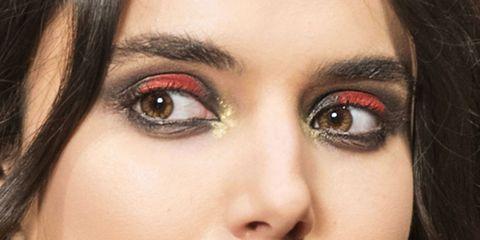 Eyebrow, Face, Eye, Eyelash, Skin, Close-up, Nose, Eye shadow, Organ, Red,