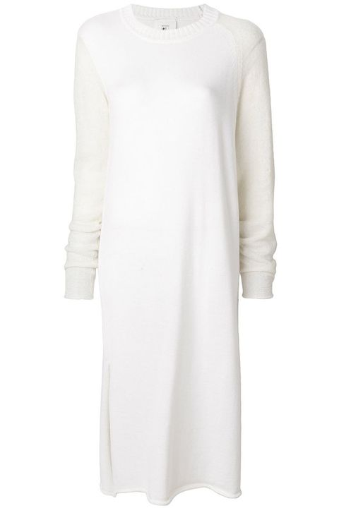 "<p>Abito in maglia bianco panna:<strong data-redactor-tag=""strong"" data-verified=""redactor"" style=""""> Lost &amp; Found Rooms</strong>, farfetch.com.</p>"