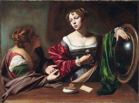 Michelangelo Merisi da Caravaggio Marta e Maria Maddalena, 1598-1599 Olio e tempera su tela, 100 x 134,5 cm Detroit Institute of Arts