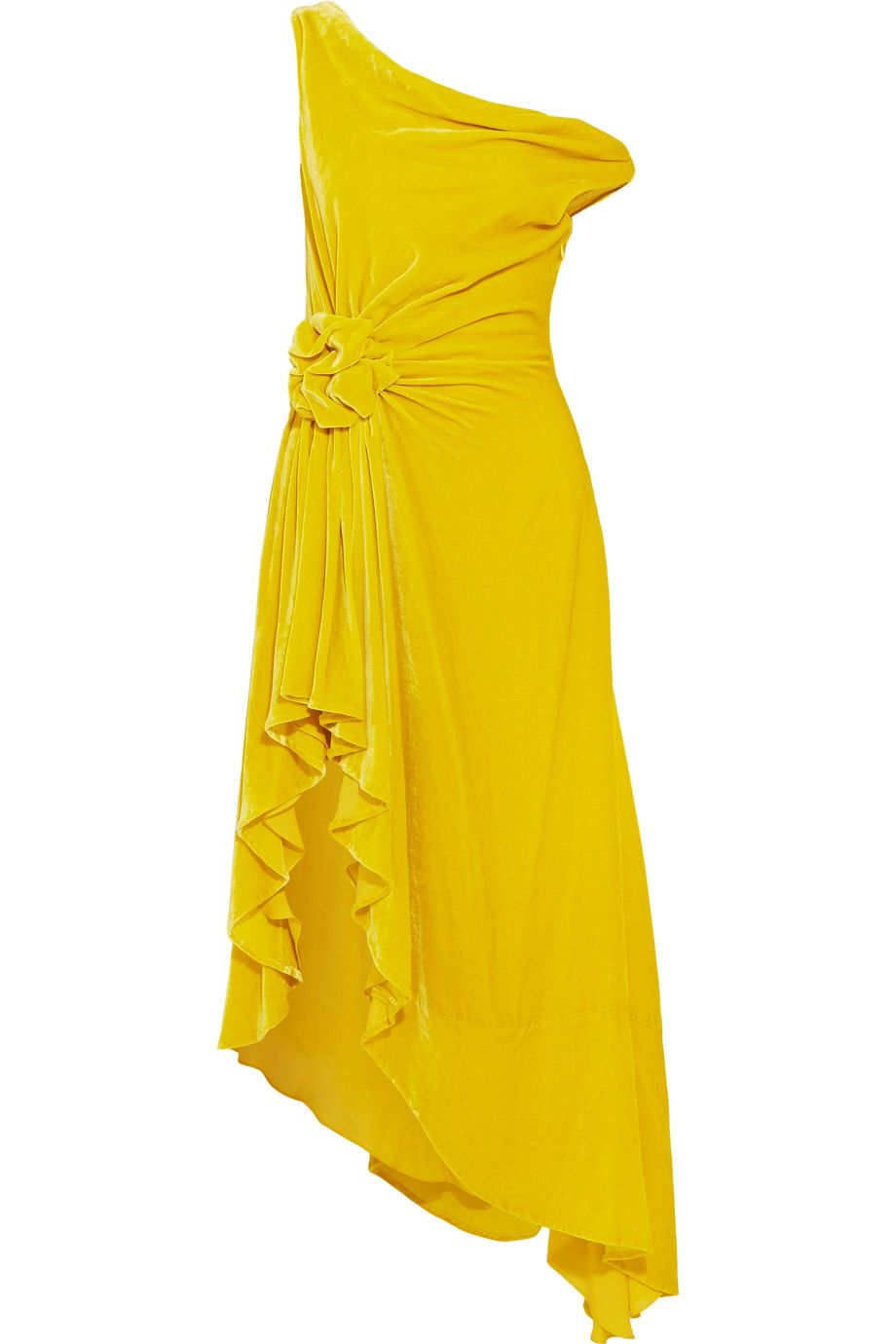 abiti eleganti velluto giallo monse