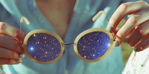 Eyewear, Blue, Glitter, Sunglasses, Purple, Cobalt blue, Glasses, Fashion accessory, Nail, Hand,