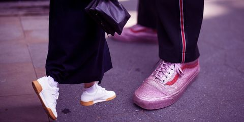 Footwear, Pink, Purple, Shoe, Violet, Fashion, Street fashion, Human leg, Leg, Magenta,