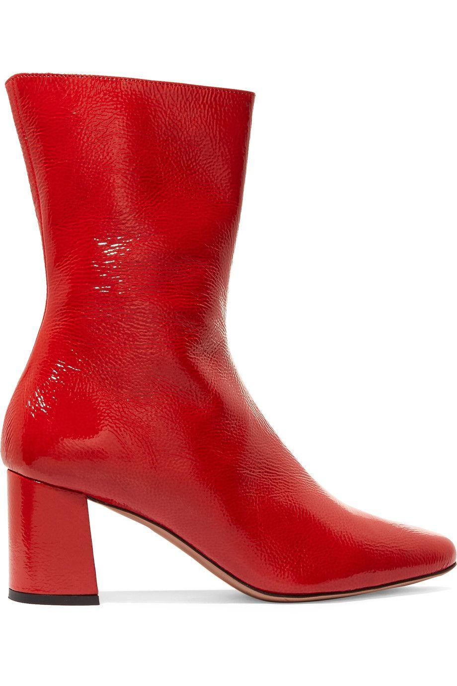 stivaletti rossi moda 2018 come modello in vernice trademark