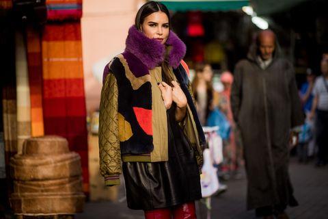 Clothing, Street fashion, Fashion, Snapshot, Yellow, Outerwear, Human, Tartan, Fur, Coat,
