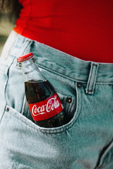 Coca-cola, Drink, Cola, Red, Jeans, Carbonated soft drinks, Soft drink, Coca, Bottle, Shorts,