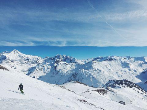 Mountainous landforms, Mountain, Snow, Winter, Mountain range, Sky, Glacial landform, Ridge, Alps, Cloud,
