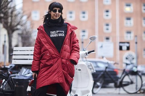 Street fashion, Clothing, Fashion, Red, Outerwear, Jacket, Coat, Snapshot, Street, Overcoat,