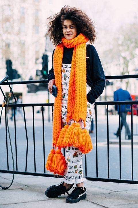 Orange, Street fashion, Clothing, Yellow, Fashion, Footwear, Dress, Photography, Photo shoot, Fashion design,