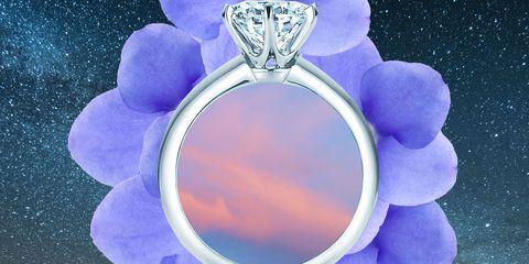 Ring, Jewellery, Fashion accessory, Engagement ring, Purple, Lavender, Diamond, Gemstone,