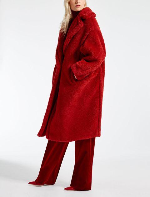 teddy coat rosso max Mara