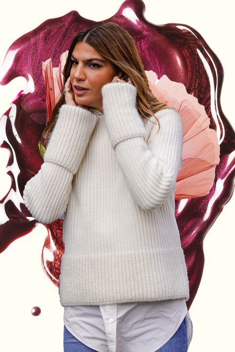 White, Pink, Beauty, Skin, Outerwear, Fashion, Lip, Photography, Brown hair, Cool,