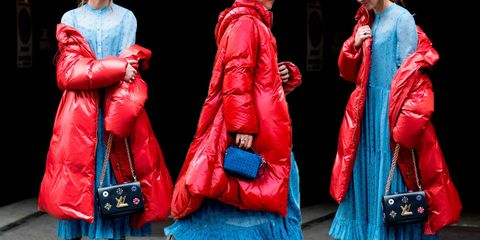 Red, Blue, Clothing, Outerwear, Electric blue, Fashion, Pink, Leather, Jacket, Street fashion,