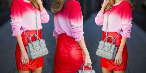 Red, White, Clothing, Pink, Street fashion, Fashion, Magenta, Outerwear, Shoulder, Dress,