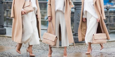 Clothing, White, Street fashion, Fashion, Dress, Fashion model, Pink, Outerwear, Beige, Trench coat,