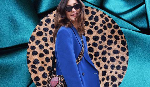 Eyewear, Blue, Polka dot, Clothing, Sunglasses, Pattern, Glasses, Outerwear, Street fashion, Electric blue,