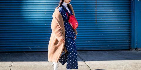 Clothing, Blue, Polka dot, Street fashion, Red, Fashion, Pattern, Outerwear, Dress, Cobalt blue,