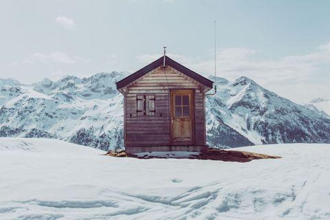 Snow, Winter, Mountain, Freezing, Sky, House, Shed, Hill station, Mountain range, Tree,