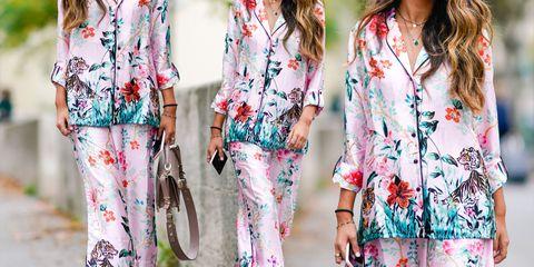 Clothing, Pink, Street fashion, Outerwear, Dress, Sleeve, Blazer, Pattern, Spring, Blouse,