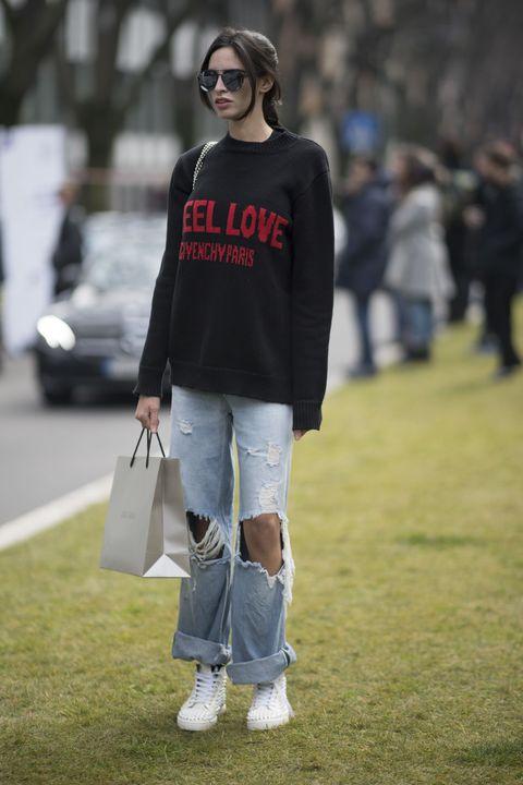 White, Street fashion, Clothing, Fashion, Jeans, Footwear, Shoulder, T-shirt, Eyewear, Shoe,