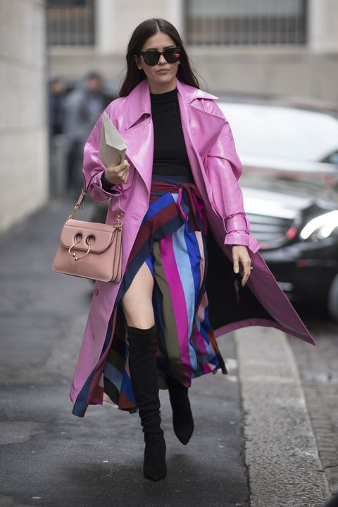 Clothing, Street fashion, Fashion, Pink, Coat, Outerwear, Purple, Trench coat, Snapshot, Fashion model,