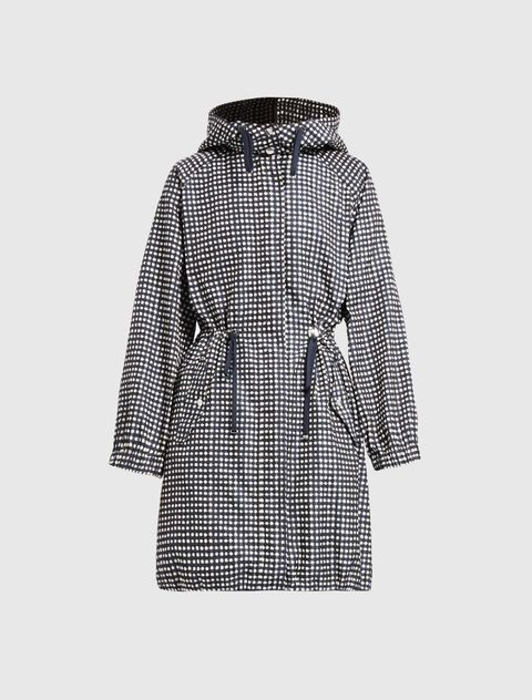 Clothing, Outerwear, Coat, Hood, Overcoat, Trench coat, Sleeve, Parka, Jacket, Pattern,