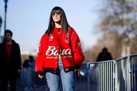 Red, Street fashion, Outerwear, Fashion, Jacket, Eyewear, Textile, Photography, Sunglasses, Black hair,