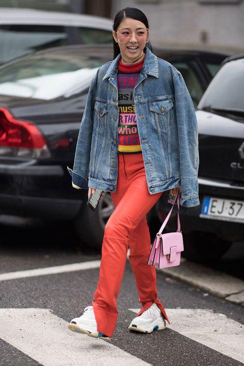 Clothing, Street fashion, Jeans, Fashion, Denim, Footwear, Snapshot, Pink, Jacket, Outerwear,