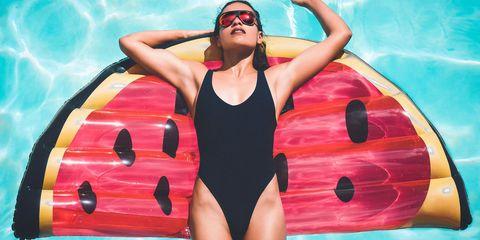 Swimwear, Fun, One-piece swimsuit, Recreation, Swimming, Swimmer, Leisure, Muscle, Water sport, Illustration,