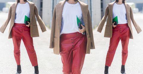 Clothing, Pink, Street fashion, Green, Fashion, Trousers, Waist, Leg, Sportswear, Outerwear,