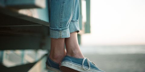 Footwear, White, Blue, Shoe, Photograph, Human leg, Jeans, Leg, Denim, Standing,