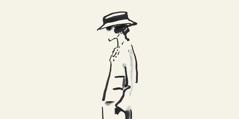 Sleeve, Standing, Hat, Style, Monochrome, Headgear, Art, Knee, Fashion illustration, Line art,