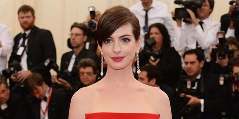 Face, Hair, Event, Shoulder, Dress, Outerwear, Red, Premiere, Strapless dress, Style,