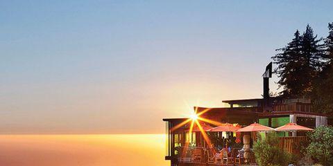 Coastal and oceanic landforms, Landscape, Natural landscape, Slope, Coast, House, Sunrise, Hill, Real estate, Sunset,