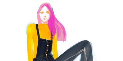 Sitting, Fashion illustration, Art, Knee, Orange, Latex, Costume accessory, Costume design, Costume, Long hair,