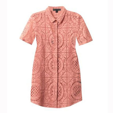 Product, Sleeve, Collar, Textile, Pattern, White, Red, Pink, Orange, Peach,