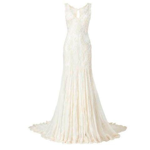 White, Dress, One-piece garment, Pattern, Gown, Wedding dress, Beige, Day dress, Ivory, Fashion design,