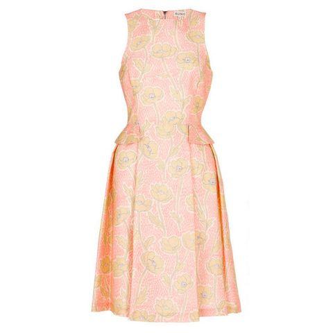Sleeve, Dress, Textile, One-piece garment, Pink, Pattern, Formal wear, Day dress, Peach, Fashion design,