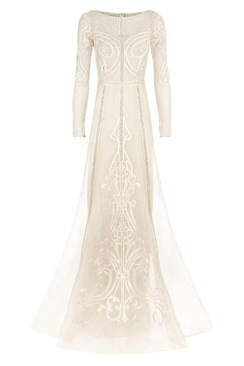 Clothing, Dress, Textile, White, One-piece garment, Formal wear, Gown, Pattern, Wedding dress, Day dress,
