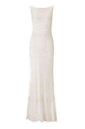 Textile, White, One-piece garment, Dress, Formal wear, Pattern, Neck, Day dress, Grey, Beige,