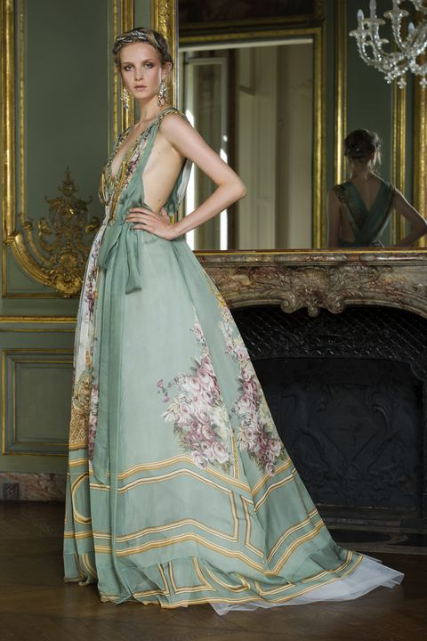 Textile, Dress, Gown, Formal wear, Style, Beauty, Fashion accessory, Fashion, Teal, Fashion model,