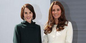 Kate Middleton and Michelle Dockery - Downton Abbey set - Duchess of Cambridge