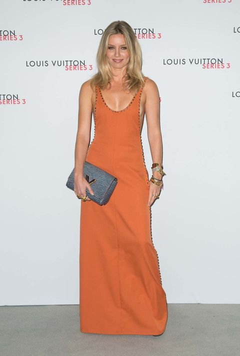 Dress, Shoulder, Joint, Bag, Style, Fashion accessory, One-piece garment, Orange, Premiere, Fashion,