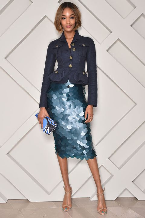 90ae64bbb2 27 November At the opening of the Burberry Omotesando store, Jourdan Dunn  styled her shimmering skirt with a cropped jacket and nude sandals.
