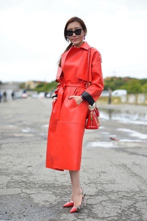 Clothing, Eyewear, Glasses, Sleeve, Shoulder, Textile, Red, Bag, Outerwear, Coat,