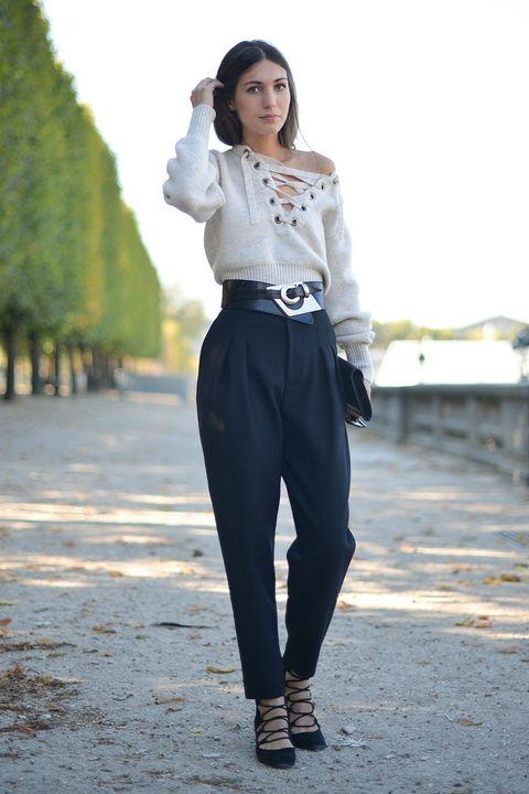 Clothing, Sleeve, Style, Collar, Street fashion, Waist, Beige, Fashion model, Bag, Photo shoot,