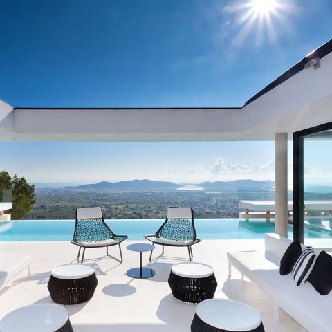 Real estate, Resort, Azure, Shade, Swimming pool, Lens flare, Villa, Sun, Daylighting, Outdoor furniture,