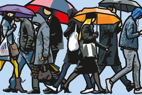 Umbrella, Interaction, Art, Illustration, Painting, Graphics, Drawing, Animation, Artwork,