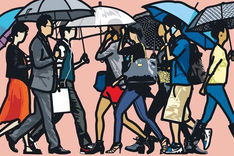 Footwear, Umbrella, Interaction, Art, Illustration, Artwork, Painting, Drawing, Graphics, Animation,
